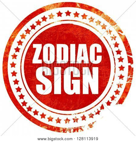zodiac sign, red grunge stamp on solid background