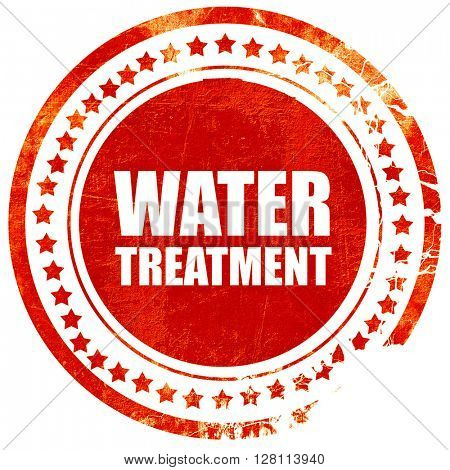 water treatment, red grunge stamp on solid background