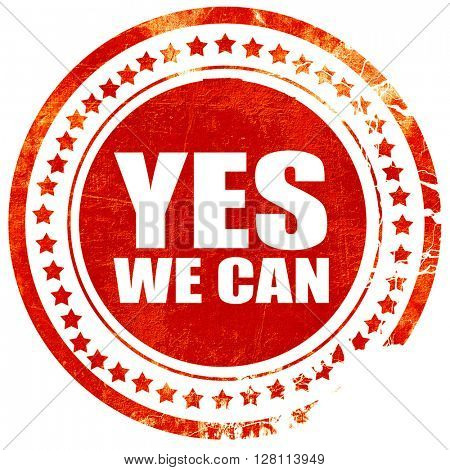 yes we can, red grunge stamp on solid background