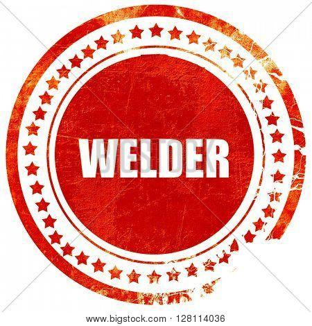 welder, red grunge stamp on solid background
