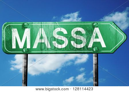 Massa road sign, 3D rendering, vintage green with clouds backgro
