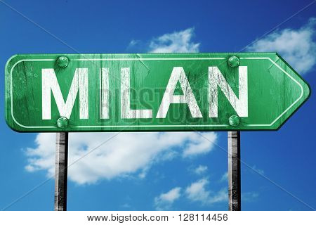 Milan road sign, 3D rendering, vintage green with clouds backgro