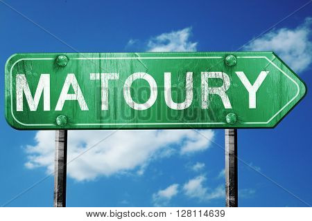 matoury road sign, 3D rendering, vintage green with clouds backg