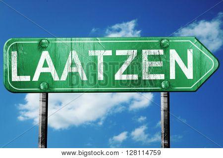 Laatzen road sign, 3D rendering, vintage green with clouds backg