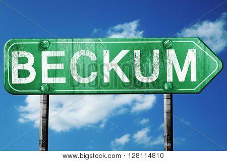 Beckum road sign, 3D rendering, vintage green with clouds backgr