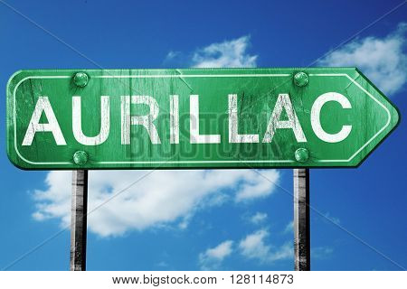 aurillac road sign, 3D rendering, vintage green with clouds back