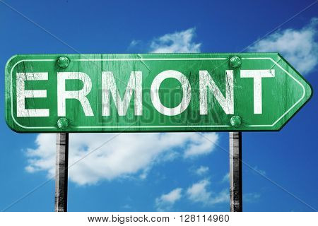 ermont road sign, 3D rendering, vintage green with clouds backgr