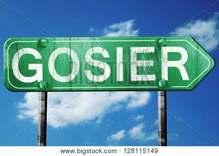 gosier road sign, 3D rendering, vintage green with clouds backgr