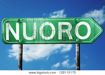 Nuoro road sign, 3D rendering, vintage green with clouds backgro