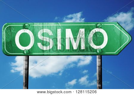 Osimo road sign, 3D rendering, vintage green with clouds backgro