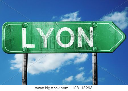 lyon road sign, 3D rendering, vintage green with clouds backgrou