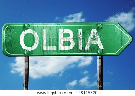 Olbia road sign, 3D rendering, vintage green with clouds backgro