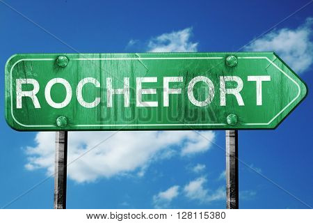 rochefort road sign, 3D rendering, vintage green with clouds bac