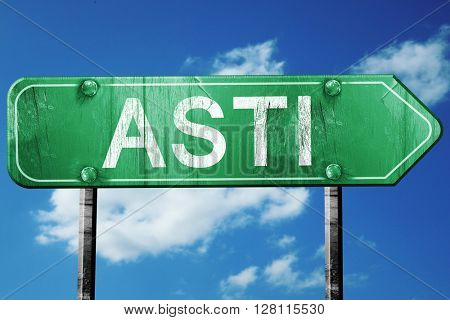Asti road sign, 3D rendering, vintage green with clouds backgrou