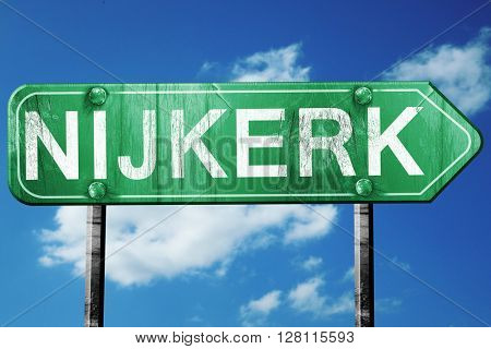 Nijkerk road sign, 3D rendering, vintage green with clouds backg