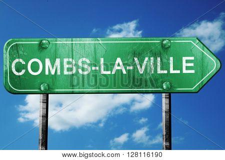 combs-la-ville road sign, 3D rendering, vintage green with cloud