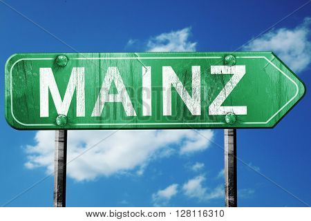 Mainz road sign, 3D rendering, vintage green with clouds backgro