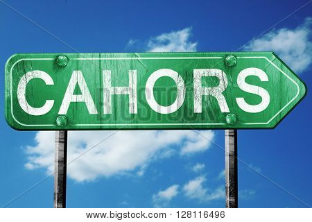 cahors road sign, 3D rendering, vintage green with clouds backgr
