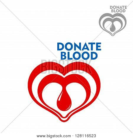 Double hearts with bright red drop of blood inside design template for blood donation, healthcare, life saving, medicine and social concept