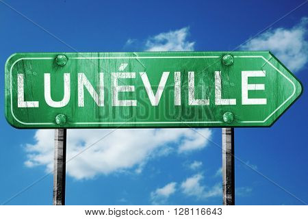 luneville road sign, 3D rendering, vintage green with clouds bac