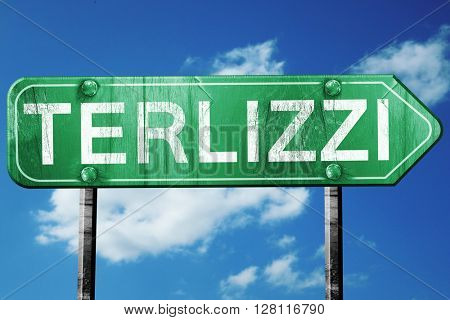 Terlizzi road sign, 3D rendering, vintage green with clouds back