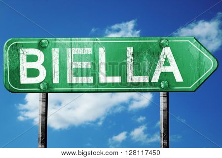 Biella road sign, 3D rendering, vintage green with clouds backgr