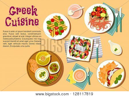 Popular greek dishes flat icon with souvlaki, served with french fries, greek salad with feta, fresh bread with marinated olives and tzatziki dip, spicy octopus with fresh vegetables, grilled feta with cherry tomatoes
