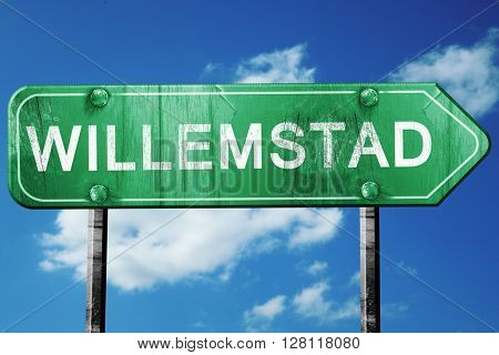 Willemstad road sign, 3D rendering, vintage green with clouds ba