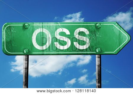 Oss road sign, 3D rendering, vintage green with clouds backgroun