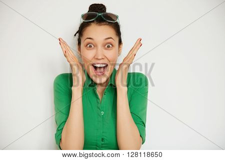 Cropped Shot Of Cute Office Woman In Casual Shirt Looking At The Camera Wit Happy And Excited Face W