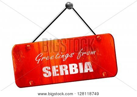 Greetings from serbia, 3D rendering, vintage old red sign