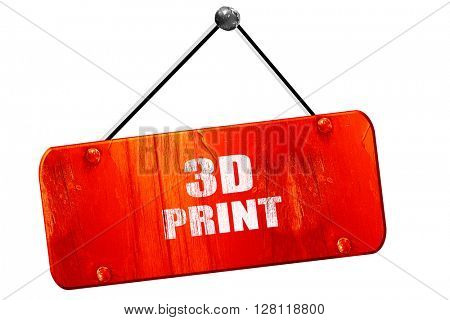 3d print, 3D rendering, vintage old red sign