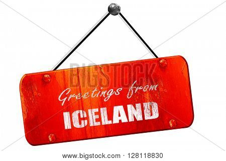 Greetings from iceland, 3D rendering, vintage old red sign