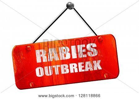 Rabies virus  , 3D rendering, vintage old red sign