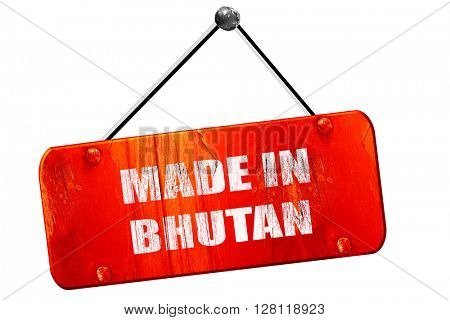 Made in bhutan, 3D rendering, vintage old red sign