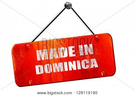Made in dominica, 3D rendering, vintage old red sign