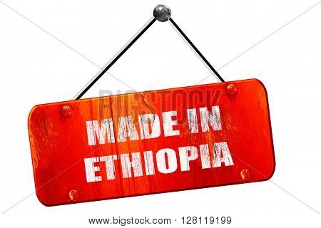 Made in ethiopia, 3D rendering, vintage old red sign