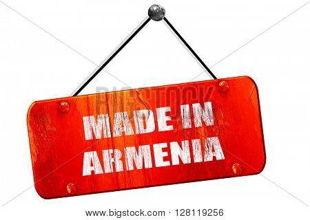 Made in armenia, 3D rendering, vintage old red sign