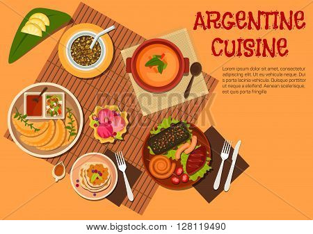 Argentine asado dishes icon with grilled beef steak, sausages and liver, empanadas with ketchup and marinated vegetables dressing, lentil soup and mate served with fresh fruits, pancakes topped with dulce de leche, fruity sundae ice cream. Flat style