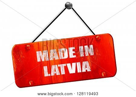 Made in latvia, 3D rendering, vintage old red sign