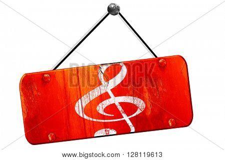 Music note , 3D rendering, vintage old red sign