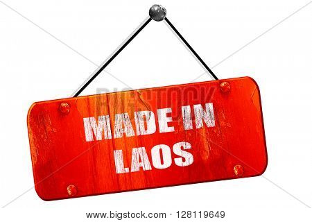 Made in laos, 3D rendering, vintage old red sign
