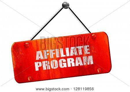 affiliate program, 3D rendering, vintage old red sign