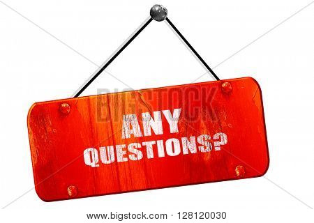any questions, 3D rendering, vintage old red sign
