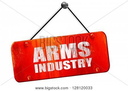 arms industry, 3D rendering, vintage old red sign