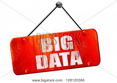 big data, 3D rendering, vintage old red sign