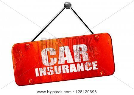 car insurance, 3D rendering, vintage old red sign