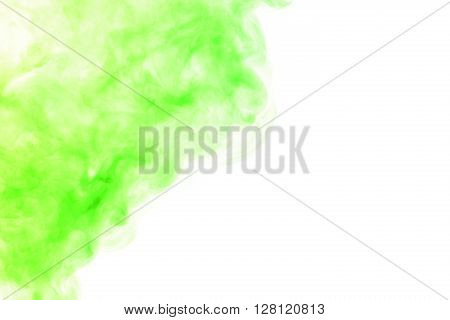 Abstract art. Red green hookah smoke on a white background. Inhalation. The steam generator. The concept of poison gas. Gaseous.