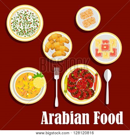 Traditional lunch of arab cuisine with desserts icon with fish soup, falafels, served with fresh tomatoes and chilli peppers, cold rice salad with green peas, semolina cakes, topped with almonds, sesame bars and zaatar croissants. Flat style
