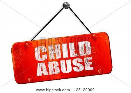 child abuse, 3D rendering, vintage old red sign